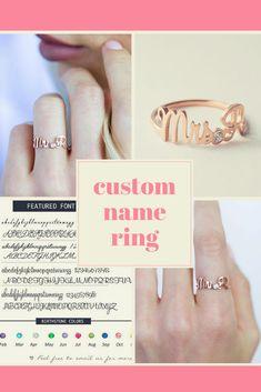 Custom Engagement Ring • Custom Name Ring with Birthstone • Future Mrs Initials Ring • #engagementring #ad #bride #customrings