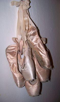 3 PAIR Beautiful Dead Pink Pointe shoes ballet ballerina decorating art craft #various