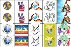 symbols of peace for the peace shelf can be used for: graphic matching, memory, bingo etc.