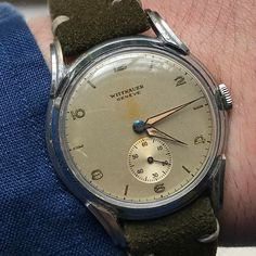 REPOST!!!  This gorgeous , all original , very affordable Wittnauer still has some of the original radium intact. Oversize at 37mm , wears really nicely long or short sleeve. @reedk #wittnauer #longines #patina  repost   credit: ID @htwatches (Instagram)
