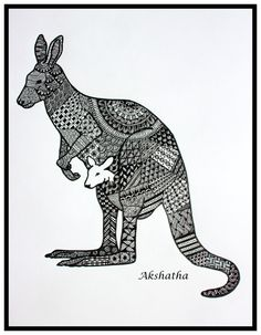 Hey, I found this really awesome Etsy listing at https://www.etsy.com/listing/251025144/kangaroo-zentangle-zentangle-art-doodle