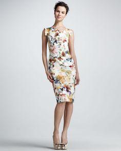 Black Halo - Floral-Print Sheath Dress
