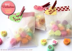 Quick and Easy DIY Valentine's Day Candy Bags with Conversation Hearts and Washi Tape