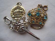 Vintage Crown Jewelry Lot - Rhinestone Brooch and Pendants