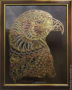 Купить Орёл Роспись по стеклу - украшение интерьера, эксклюзивный подарок, подарок на любой случай