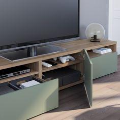 BESTÅ TV unit - walnut effect light gray, Notviken gray-green - IKEA Besta Tv Bank, Tv Bench, Plastic Foil, Large Tv, Ikea Family, Knobs And Handles, Steel Doors, Drawer Fronts, Minimalist Home