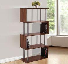 Wooden Bookcase S Shape Shelf Cupboard Walnut Color Office Living Room Furniture