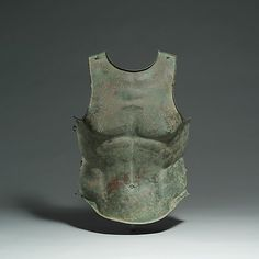 Bronze cuirass (body armor), 4th century B.C. Greek, Apulian.  Maybe I should wear a one piece swimsuit like this.  To give the impression of rock, hard abs.