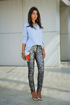 metallic gray pants with chic top