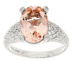 Judith Ripka Sterling 4.50ct Morganite and Pave Diamonique Cocktail Ring