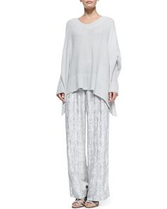Oversized V-Neck Poncho Sweater & Wide-Leg Pants with Side Buttons by Donna Karan at Neiman Marcus.