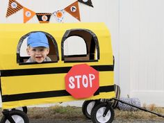 On Halloween night let your toddlers ride in style by transforming a plain wagon into a bug yellow school. It'll save their little legs from all of that walking and keep them from wandering off.