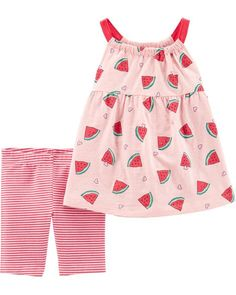 Sweeten her style with this girls' Carter's watermelon tank top and striped bike shorts set. In pink. Baby Girls, Carters Baby Girl, Toddler Girls, Toddler Toys, Baby Toys, Baby Set, Baby Outfits, School Outfits, Watermelon Shorts