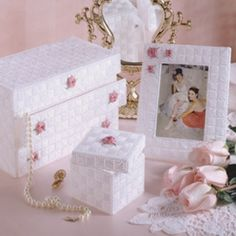 Leisure Arts provides best deal price online to make your dressing room beautiful with - Plastic canvas Jewelry box patterns, trinket box & frames. Plastic Canvas Coasters, Plastic Canvas Crafts, Plastic Canvas Patterns, Canvas Picture Frames, Picture Frame Crafts, Button Art On Canvas, Canvas Art, Dresser Sets, Box Patterns