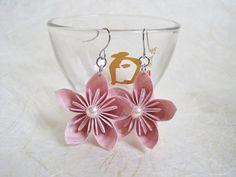 Origami Earrings  Pink Kusudama Flower Paper by VonnesHandmadez