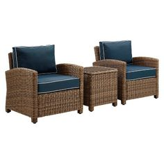 Bradenton 3pc Outdoor Wicker Conversation Set with Navy Cushions Two Arm Chairs & Side Table - Crosley, Brown
