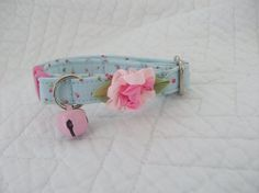Shabby Chic Cat Collar Blue with Baby Rose Buds with Bell  Cat  Breakaway Collar Custom Made