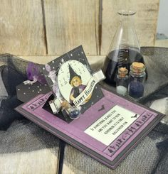 """Hi everyone! I have made a sliding card using """"The Witching Hour"""" collection. It's so much fun that Pion has made a collection with a Halloween theme, and I really enjoyed playing…"""