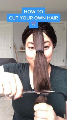 Cut Own Hair, Cut Hair At Home, How To Cut Your Own Hair, Self Haircut, Diy Haircut, Hair Cutting Videos, Cutting Hair, Easy Hair Cuts, Long Hair Cuts