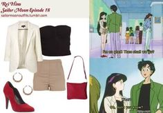 would recreate love the pop of red in this rather neutral outfit. Casual Cosplay, Cosplay Outfits, Anime Outfits, Cute Outfits, Sailor Moon Outfit, Sailor Moon Cosplay, Anime Inspired Outfits, Character Inspired Outfits, Sailor Uranus