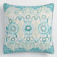 $30 Teal Tile Embroidered Throw Pillow - v1