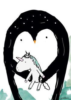 penguin unicorn print  Art-Illustration-Print   A4