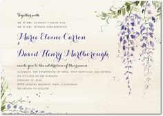 If we decide to decorate with wisteria, these invitations would be perfect.  Wisteria Wonder:Velvet Rope