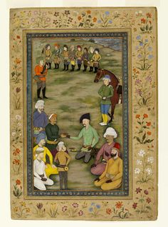 Khan Alam seen here again with Shah Abbas I Safavi