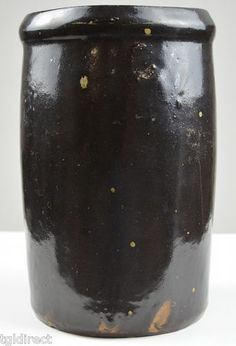 """Vintage Stoneware Black Crock Collectible Pottery Home Decor Accent 7 75"""" Tall 