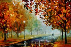 "Fall Scenery Paintings Bronze Leaves Artwork On Canvas By Leonid Afremov - Foggy Autumn. Size: 36"" X 24"" inches"