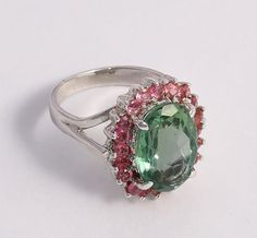 NATURAL FACETED GREEN AMETHYST GEMS 100% SOLID 925 STERLING SILVER SIZE 8 RING #Handmade #Ring