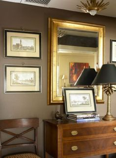 Courtney Giles Interiors - entrances/foyers - taupe paint, taupe paint colors, taupe paint color, taupe walls, Brown & gold foyer design with Taupe Paint, Taupe Walls, Brown Walls, Dark Walls, Taupe Bedroom, Master Bedroom, Accent Walls In Living Room, My Living Room, Room Colors