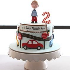 Toddler Birthday Cakes, Second Birthday Cakes, Baby Boy Birthday Cake, Little Boy Cakes, Cakes For Boys, Fondant Cakes, Cupcake Cakes, Cupcakes, Baby Christening Cakes