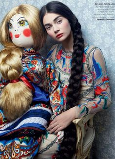 Danil Golovkin Lenses Antonina Vasylchenko for Vogue Russia's December 2012 'Toy Story' - 8 Style Foto Fashion, Fashion Shoot, Fashion Art, Editorial Fashion, Fashion Dolls, High Fashion, Unique Fashion, Fashion Beauty, Winter Fashion