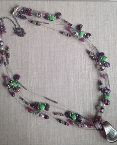 Items similar to Purple & Green Multi-strand Necklace with FREE EARRINGS. on Etsy Multi Strand Necklace, My Etsy Shop, Trending Outfits, Purple, Unique Jewelry, Handmade Gifts, Green, Vintage, Kid Craft Gifts