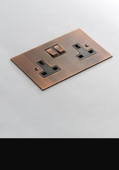 Brushed Copper Electrical Plug Socket (124E)