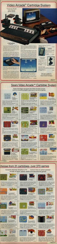 """The 1979 Sears Wishbook showcased Atari's new-at-the-time video game system and sold it under the name of """"Video Arcade Cartridge System."""" Good times."""