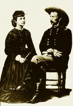 George & Libbie Custer, Texas, 1865.  It was a well known fact that George A. Custer was an Egomaniac, it's the reason his troop was wiped out at the Little Big Horn;  He was supposed to be waiting for two other Calvary troops to assist in the battle, but he PUSHED his troop faster to arrive sooner, thinking he would have the GLORY for Himself....HUGE Mistake.