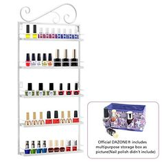 Dazone DIY Mounted 5 Shelf Nail Polish Wall Rack Organizer Holds 50 Bottles Nail Polish or Essential Oils (White) DAZONE http://www.amazon.com/dp/B00WHL5CGM/ref=cm_sw_r_pi_dp_XL0Rvb1S9MY67