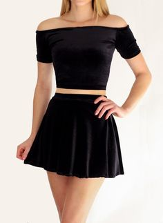 Black Velvet Skater Skirt Skirts - Spikes and Seams