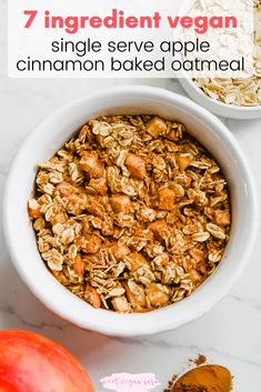 This vegan single serve apple cinnamon baked oatmeal is rich, sweet, and full of fall flavor, made with just 7 healthy ingredients! #veganoatmeal #bakedoatmeal #healthyoatmeal #healthybreakfast #healthyveganbreakfast #oats #bakedoats #applecinnamon #fallbreakfast #healthyveganrecipe #plantbasedbreakfast Healthy Cookie Recipes, Oatmeal Recipes, Delicious Vegan Recipes, Dairy Free Recipes, Healthy Baking, Vegan Desserts, Raw Food Recipes, Diet Recipes, Vegan Oatmeal