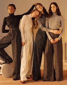 Tweed wide-leg trousers, cream, gray, brown, with turtleneck sweaters, 70's