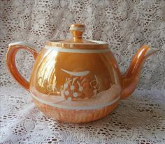 Orange Luster English Teapot Vintage Ellgreave China