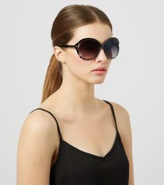 Black Oval Cut Out Frame Sunglasses