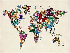 Butterflies Map of the World Map Art Print 449 by artPause on Etsy
