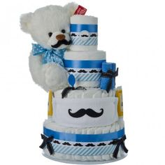 Our Little Man Mustache diaper cake welcomes new little boys and also serves as a centerpiece for the ever popular mustache themed baby showers. This cake features a soft Gund teddy bear named Frosting. Lil Man Baby Shower, Baby Shower Cakes For Boys, Baby Boy Cakes, Baby Shower Diapers, Baby Shower Themes, Baby Shower Gifts, Baby Gifts, Shower Ideas, Mustache Diaper Cake