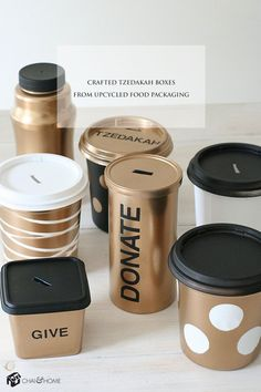 Craft These Stylish Tzedakah Boxes From Upcycled Food Packaging | Chai & Home