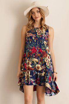 Garden print floral ruffle navy dress boho dress, navy dress, navy floral d Navy Dress, Ruffle Dress, Boho Dress, Dress Up, Chic Dress, Ruffles, Simple Dresses, Casual Dresses, Short Dresses