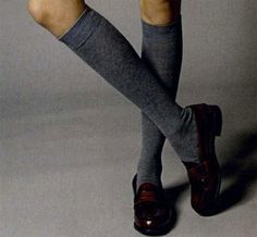 penny loafers and knee socks. with skirts or knee length shorts