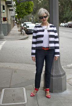 <outfit post> the blues: denim by Ann Taylor; blouse by Banana Republic; blazer by Banana Republic; belt by JCrew; shoes by Enzo Angiolini; necklace by JCrew; bracelet by JCrew